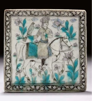 A QAJAR SQUARE TILE, LATE 19TH