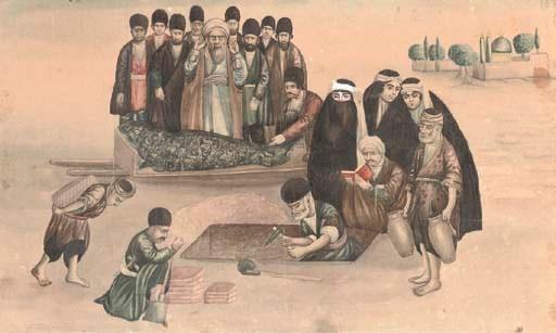 MOURNING SCENE, QAJAR IRAN, SE
