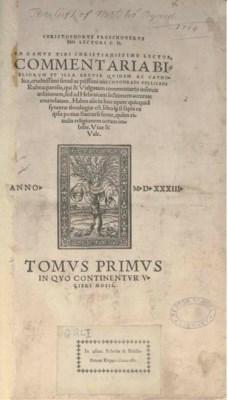PELLICANUS, Conradus. Commenta