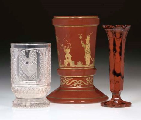 TWO LITHYALIN VASES AND A CUT