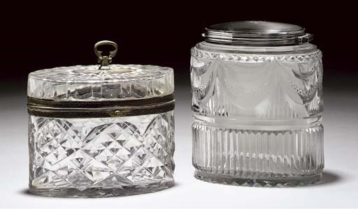 A SILVER-MOUNTED AND CUT TEA-C