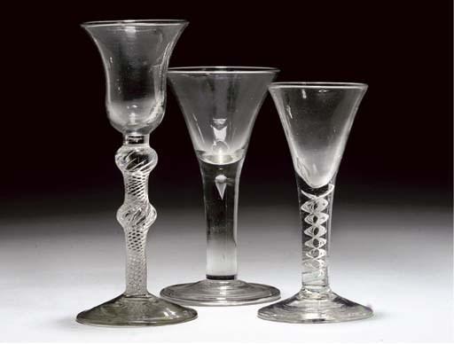 THREE VARIOUS WINE-GLASSES