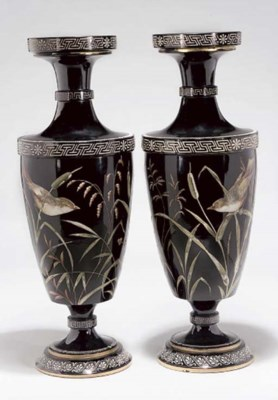 A PAIR OF BOHEMIAN BLACK GLASS