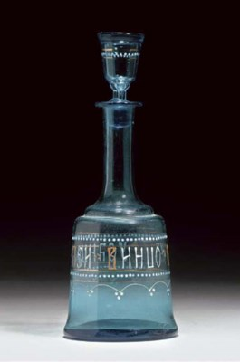 A RUSSIAN PALE BLUE DECANTER A