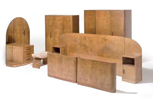 AN ART DECO BURR-WALNUT BEDROO