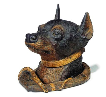 A COLD-PAINTED BRONZE INKWELL