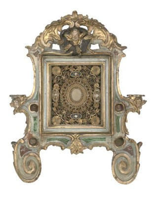 AN ITALIAN GILT AND PAINTED WO