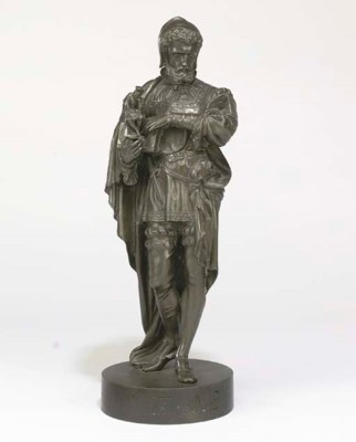 A SPELTER FIGURE OF MICHAELANG