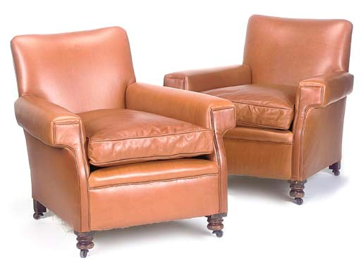 A PAIR OF TAN LEATHER UPHOLSTE