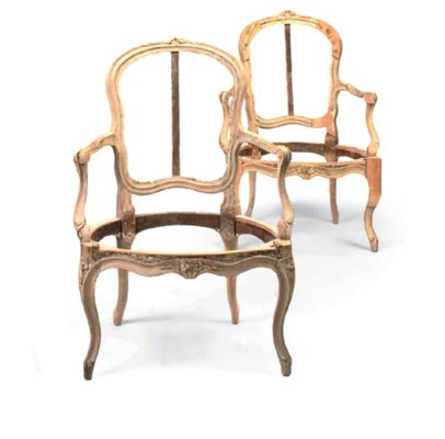 A PAIR OF LOUIS XV BEECH ARMCH