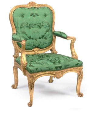 A GILTWOOD OPEN ARMCHAIR