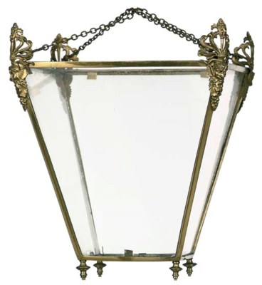 A LACQUERED BRASS HALL LANTERN