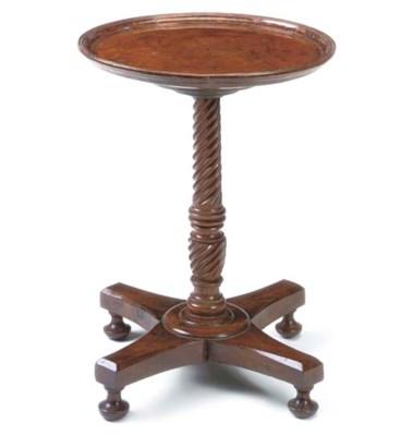 A BURR-YEW PEDESTAL TABLE