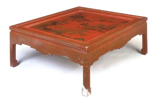 A CHINESE RED AND GILT-LACQUER