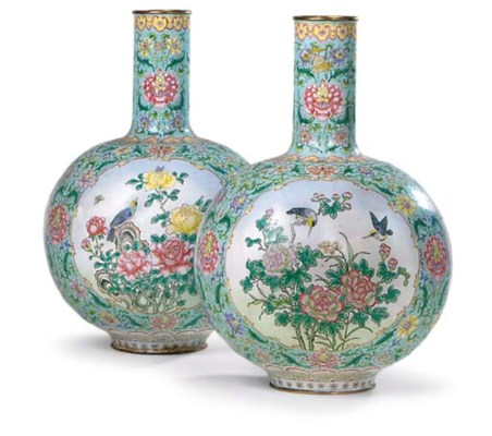 A PAIR OF CANTON ENAMEL BOTTLE