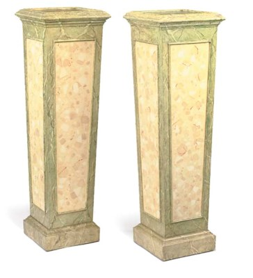 A PAIR OF SIMULATED GREEN MARB