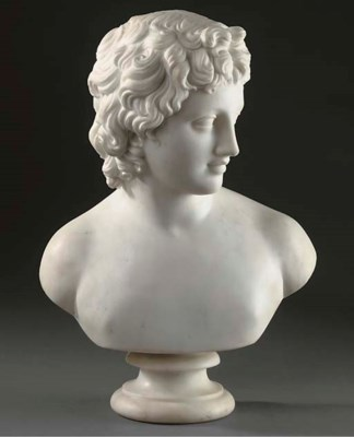 A WHITE MARBLE BUST OF EROS