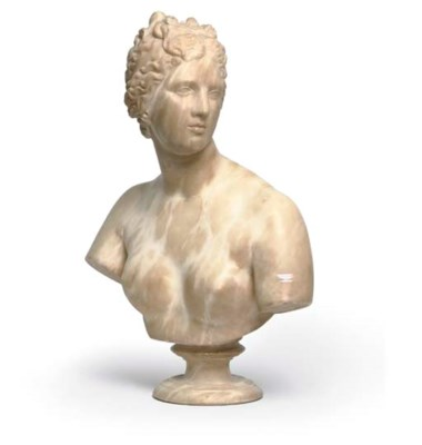 AN ITALIAN ALABASTER BUST OF V