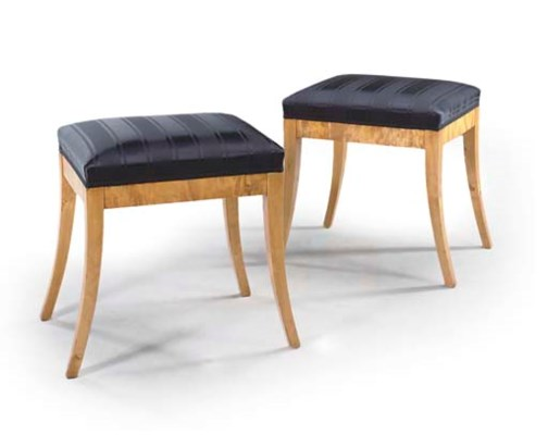 A PAIR OF SWEDISH BIRCH STOOLS