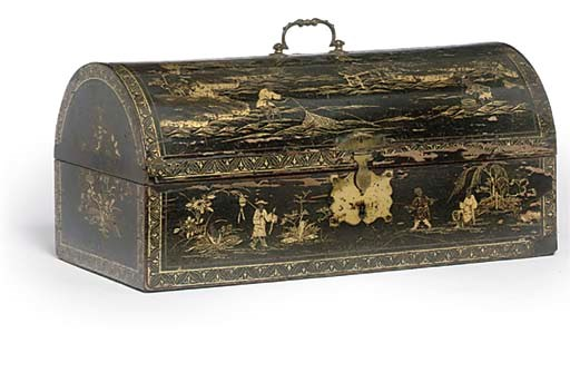 A JAPANNED DOMED CHEST
