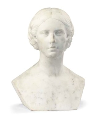 A VICTORIAN WHITE MARBLE BUST