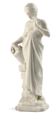AN ITALIAN CARVED WHITE ALABAS