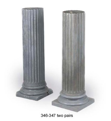 A PAIR OF GREY MARBLE FLUTED P