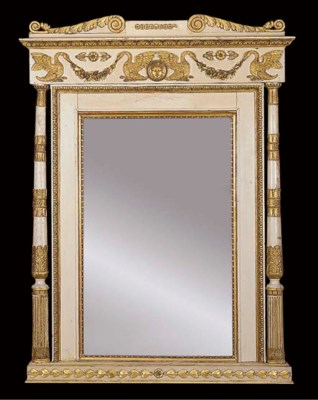 A FRENCH EMPIRE CREAM PAINTED