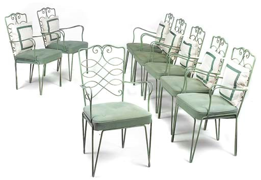 A SET OF EIGHT GREEN PAINTED W