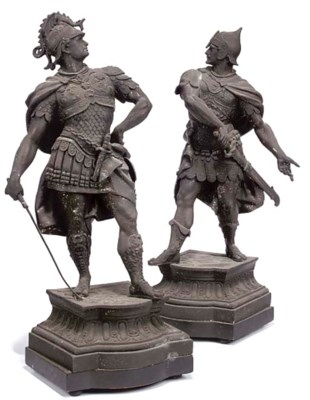 A PAIR OF SPELTER FIGURES OF R