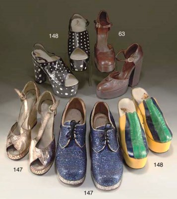TWO PAIRS OF PLATFORM SHOES