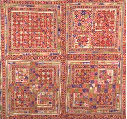 FOUR EMBROIDERED SHAWLS, SINDH