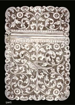 A silver card case