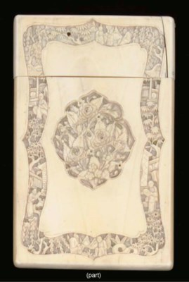 A group of six ivory card case