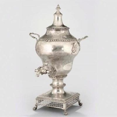 A GEORGE III SILVER TEA URN,