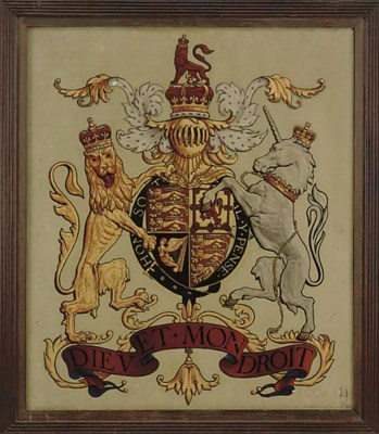 A GEORGE V PAINTED ARMORIAL RO