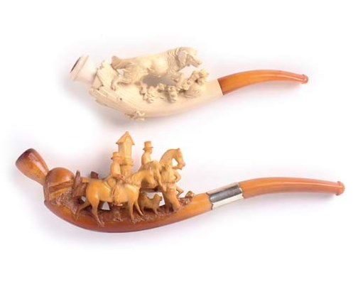 EIGHT CASED MEERSCHAUM PIPES A