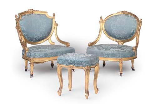 Two victorian giltwood salon chairs in the louis xvi for 212 salon st louis