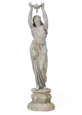 A FRENCH SPELTER FIGURAL FOUNT