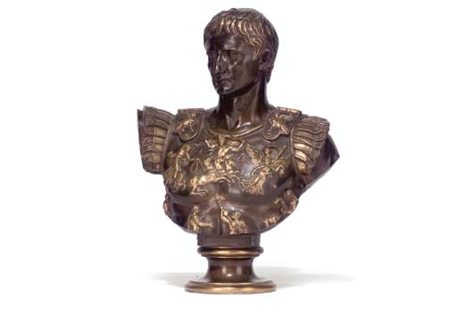 A FRENCH BRONZE BUST OF CAESAR