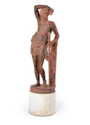 A FRENCH CAST IRON FIGURE OF B