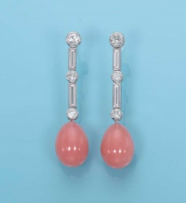 A PAIR OF 'PINK OPAL' AND DIAM
