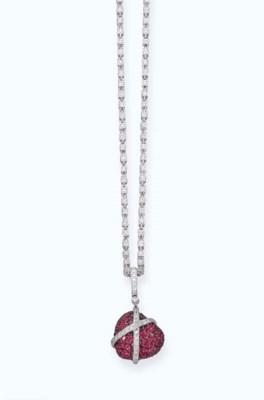 A RUBY AND DIAMOND HEART-PENDA