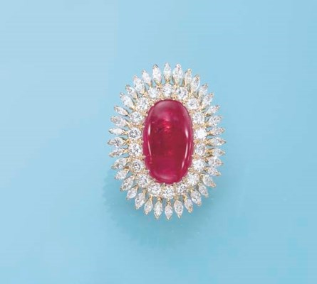 A RUBY AND DIAMOND RING, BY YO