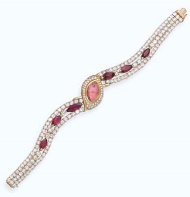 A RUBY AND DIAMOND LADY'S WRIS