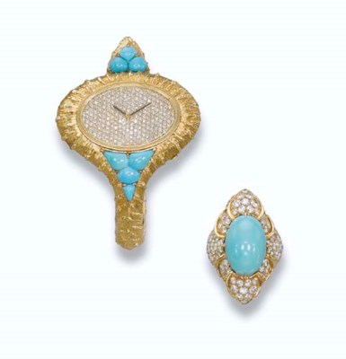 A LADY'S TURQUOISE AND DIAMOND