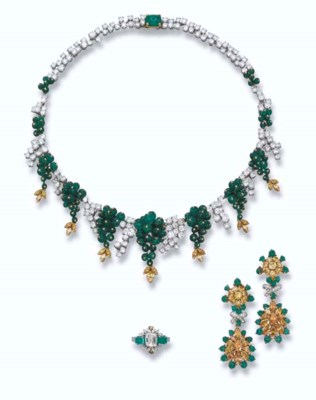 A GEM-SET NECKLACE AND A PAIR