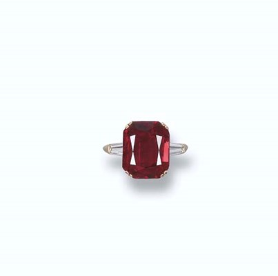 A RUBY AND DIAMOND RING, BY BO