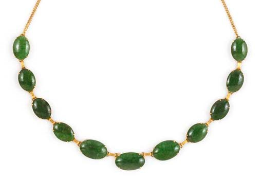 A JADE AND DIAMOND NECKLACE