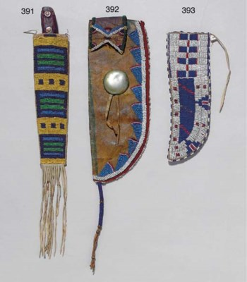 A CROW BEADED HIDE KNIFE SHEAT
